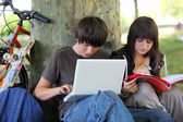 Young students doing their homework in a park — Stock Photo