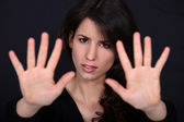 Woman holding her palms up — Stock Photo