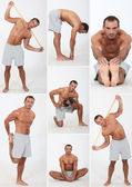 Muscular man doing stretching and fitness — Stock Photo