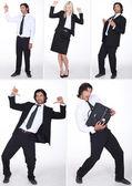 Ett collage av affärsmän som har roligt — Stockfoto
