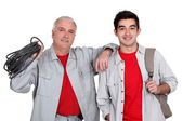 Father and son electricians — Stock Photo