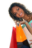 A young black woman with shopping bags — Stock Photo