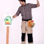 Man hamering post into ground — Stock Photo #9170464