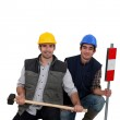 Duo of workman posing in studio — Stock Photo #9170608