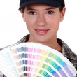 A woman holding a color model. — Stock Photo #9170669