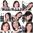Collage of a woman with a clapperboard - Stock Photo