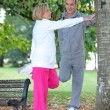 Couple stretching in a park — Stock Photo #9171704