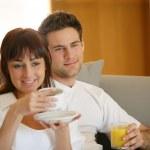 Couple having brekfast — Stock Photo