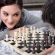 Couple playing chess — Stock Photo #9172220