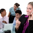 Businesswoman delighted with her phone call — Stock Photo