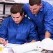 Stock Photo: Electricians looking at part