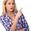 Stock Photo: Young blonde woman showing something