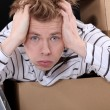 Stockfoto: Overwhelmed mon moving day