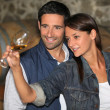 Portrait of a couple tasting wine — Stock Photo