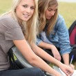 Teenagers working outside — Stock Photo #9175240
