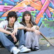 Teenagers hanging out on the streets - Stockfoto