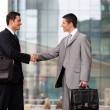 Businessmen handshaking outdoors - 