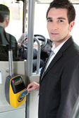 Portrait of a man in public transportation — Stock Photo
