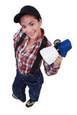 Woman with paint spaying device — Stock Photo