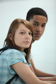 Portrait of two young students — Stock Photo