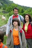 Family on a hiking trip — Stock Photo