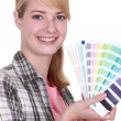 Stock Photo: Woman with a color chart