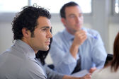 Attentive busiess group — Stock Photo