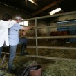 Stock Photo: Farmer and wife stood in barn