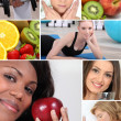 Healthy living themed montage — Stock Photo
