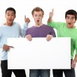 Expressive men holding a white sign for message — Stock Photo
