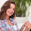 Young woman writing - Stockfoto