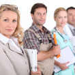 Profile view of four professionals from different domains — Stockfoto #9206531