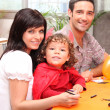A family making Halloween preparations. — Stock Photo #9207284