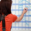 Stock Photo: Female apprentice noting down appointments