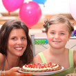 Cheerful woman and little girl celebrating birthday — Stock Photo #9208777