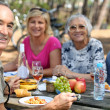 Stock Photo: Family eating picnic in forest