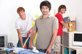 Guys cleaning — Stock Photo