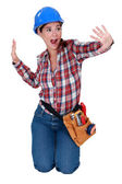 Tradeswoman dancing — Stock Photo