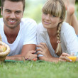 Couple's Sunday picnic — Stock Photo