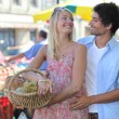 Couple at the market — Stock Photo