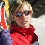Blond skier posing — Stock Photo