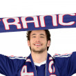 French soccer fan waving scarf — Stock Photo