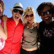 Group of friends arriving at the beach — Stock Photo #9212450