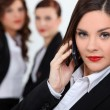 Brunette woman on the phone — Stock Photo