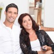 Couple watching television — Stock Photo #9213233