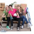 Friends cleaning house — Stock Photo