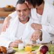 Couple eating breakfast together — Stock Photo #9213773