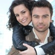 Stock Photo: Young couple in leather jackets