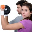 Couple working out together — Stock Photo