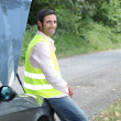 Stock Photo: Mawaiting roadside assistance